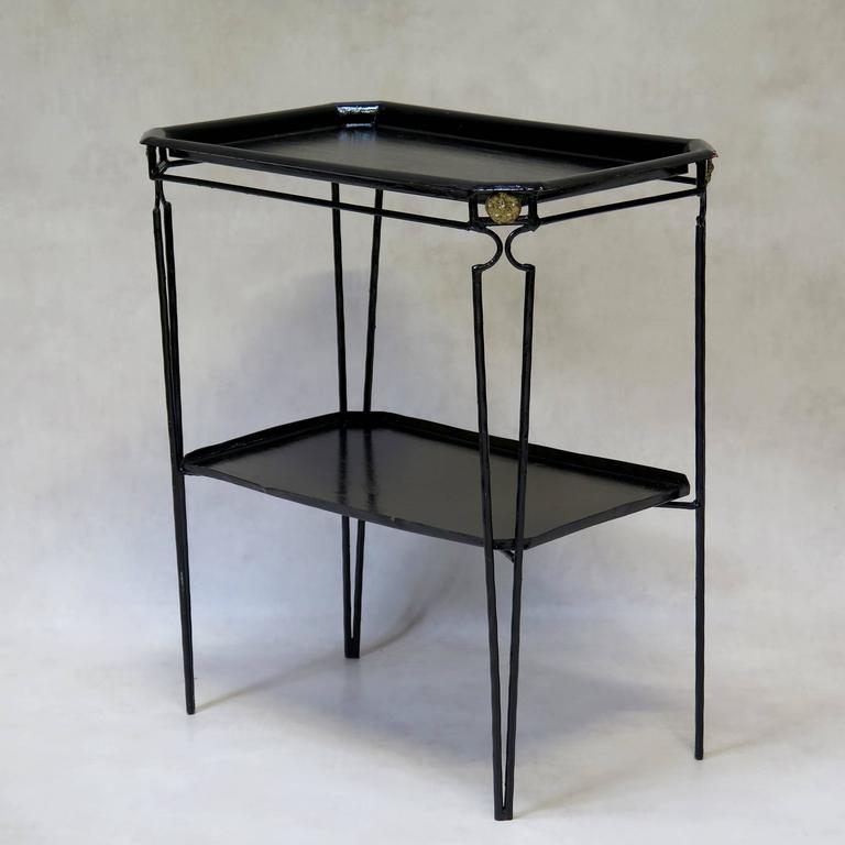 Four Black Painted Metal Tray Tables In The 1940s Style France Circa 1960s For Sale At 1stdibs