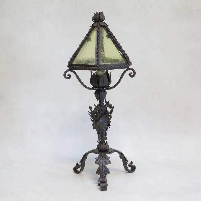 Gothic Style Wrought Iron Lamp With Dragons France