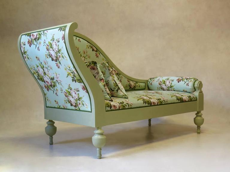 French Baroque Style Chintz Upholstered Daybed Circa