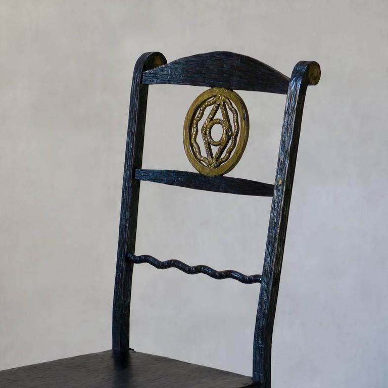 20th Century 1920s Hammered Iron Mirror and Chair, France For Sale