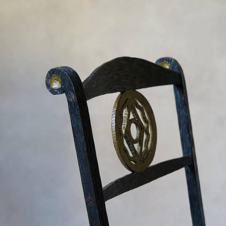1920s Hammered Iron Mirror and Chair, France For Sale 1