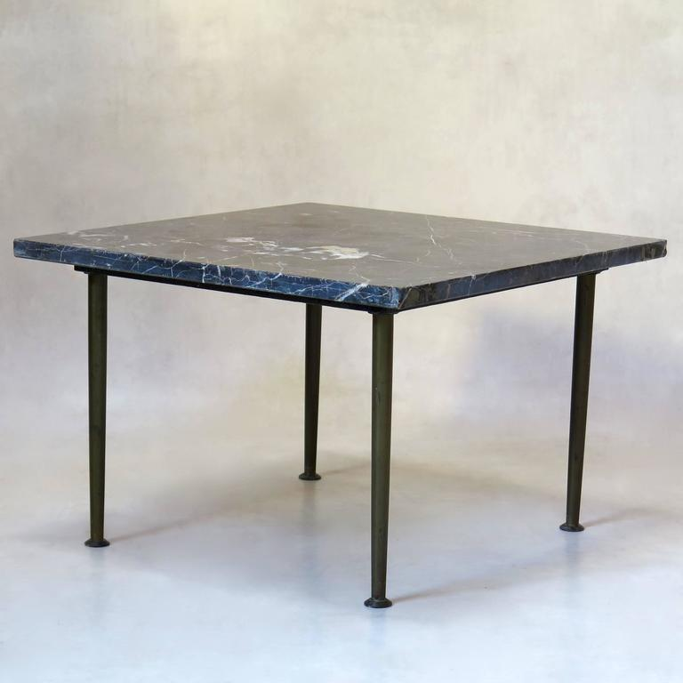 Small Square Bronze And Black Marble Coffee Table France Circa 1950s For Sale At 1stdibs