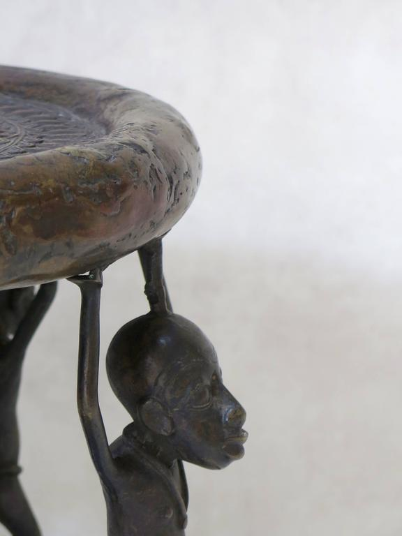 Cameroonian Bronze Tikar Lost Wax Stool from Cameroon For Sale