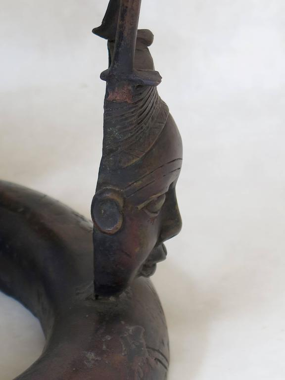 20th Century Bronze Tikar Lost Wax Stool from Cameroon For Sale