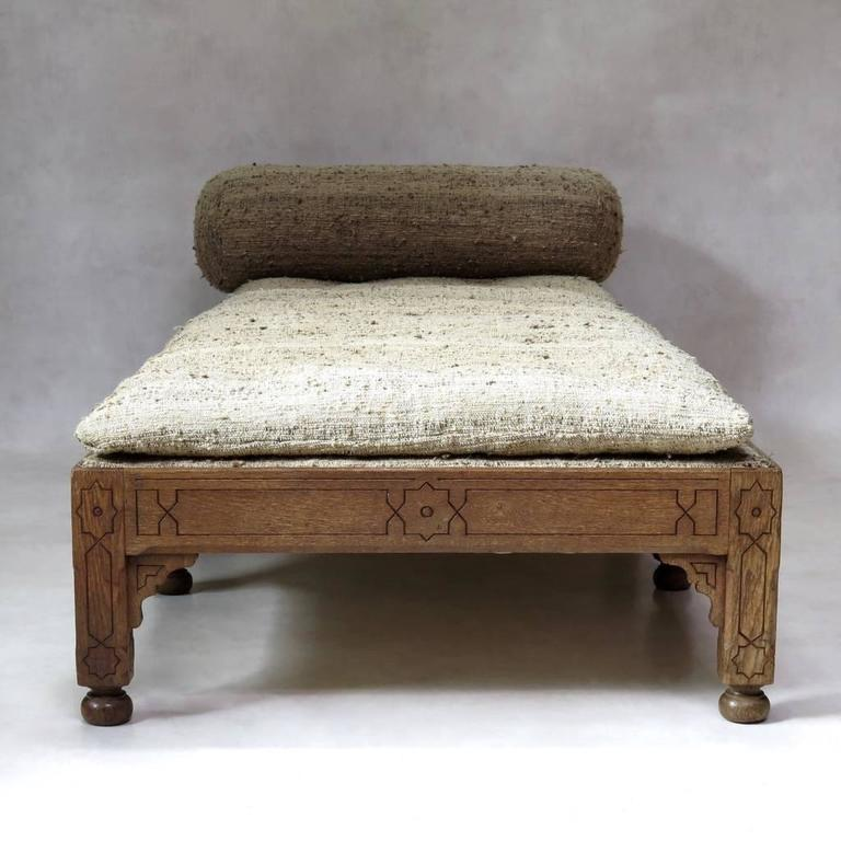 20th Century Oriental Style Oak Daybed, France, circa 1910s For Sale