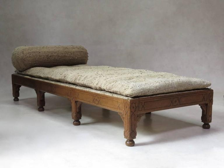 French Oriental Style Oak Daybed, France, circa 1910s For Sale