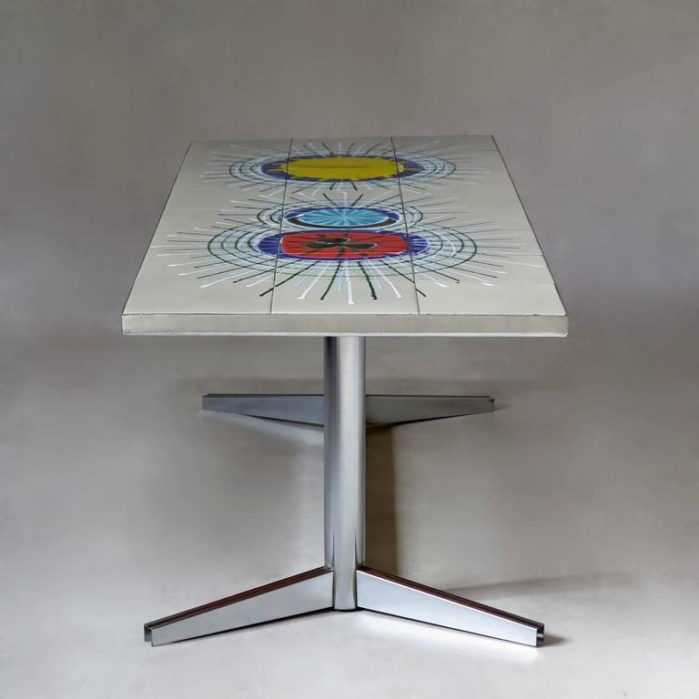 French 1960s Tile-Top Coffee Table by Juliette Belarti 3