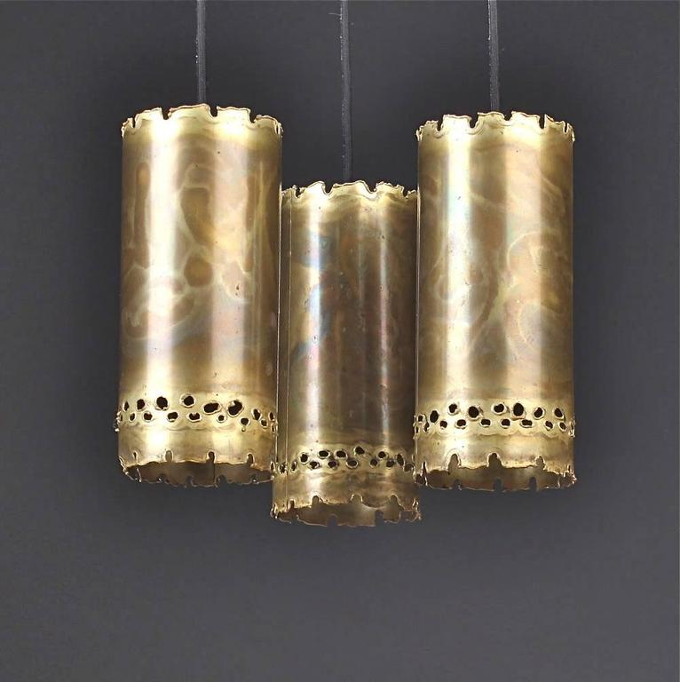 Svend Aage Holm Sorensen, pendant in brass. Produced by Holm Sorensen, circa 1960. Overall size: H drop 90 (35