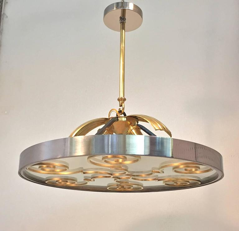 Scandinavian Modern Chandelier by Lars Holmstrӧm for Arvika, 1930s
