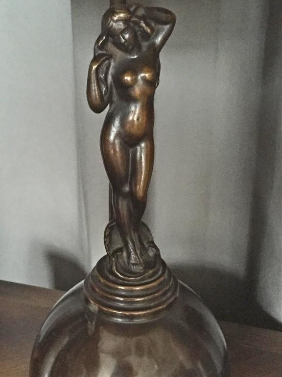 Danish Art Deco Style Bronze Table Lamp by AE Bronze For Sale