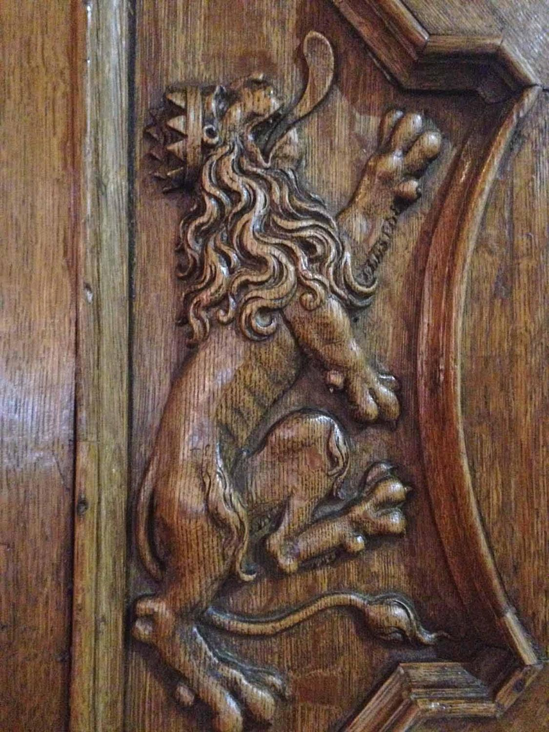 Intricately hand carved european door in high relief