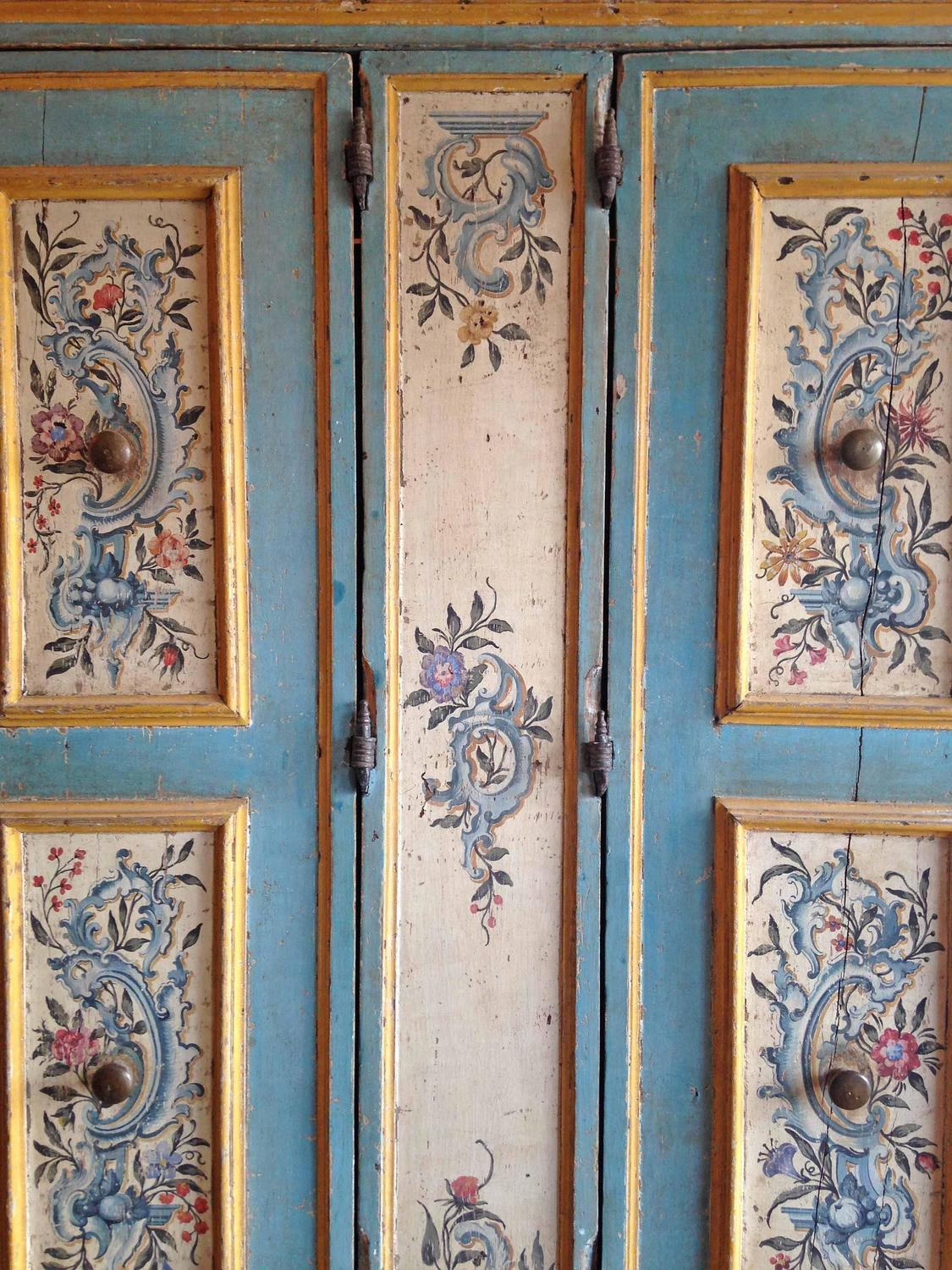 Antique Italian Painted Armoire For Sale At 1stdibs