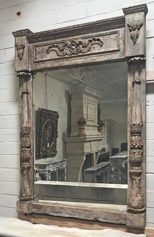19th Century Antique Architectural Parcel-Gilt Framed Mirror, circa 1850 For Sale