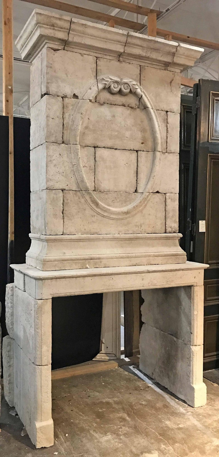 18th Century Limestone Mantel with Hand-Carved Trumeau 4