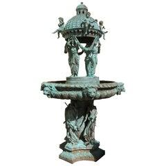 Bronze Fountain with Lionhead Spouts