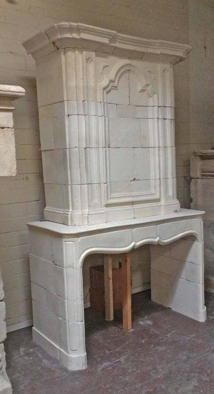 French Antique Limestone Mantel with Trumeau For Sale