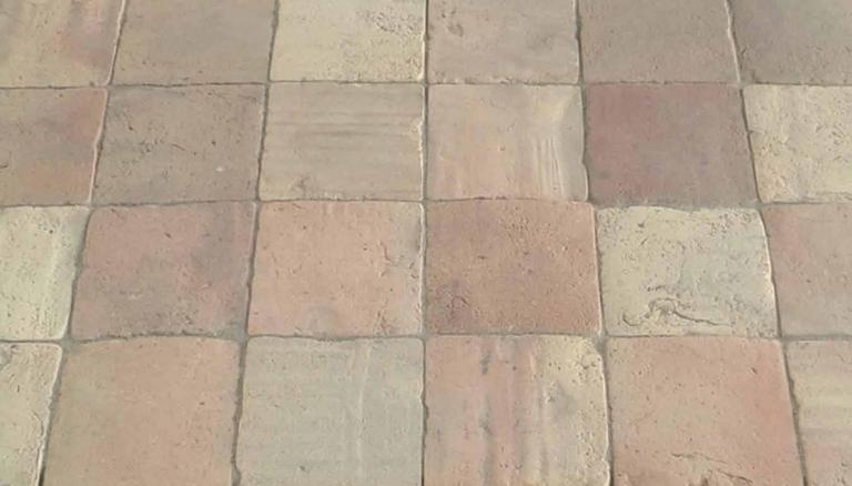 French Antique Terracotta Square Pastel Flooring For Sale