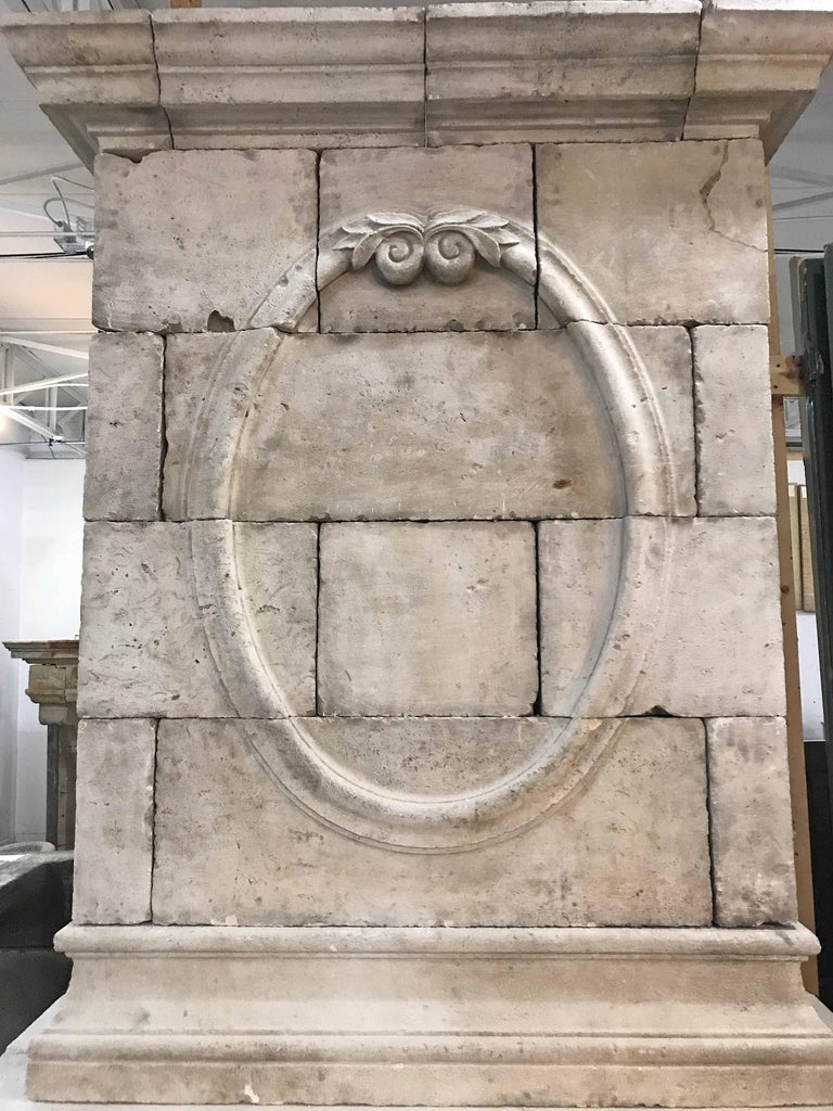18th Century Limestone Mantel with Hand-Carved Trumeau 2