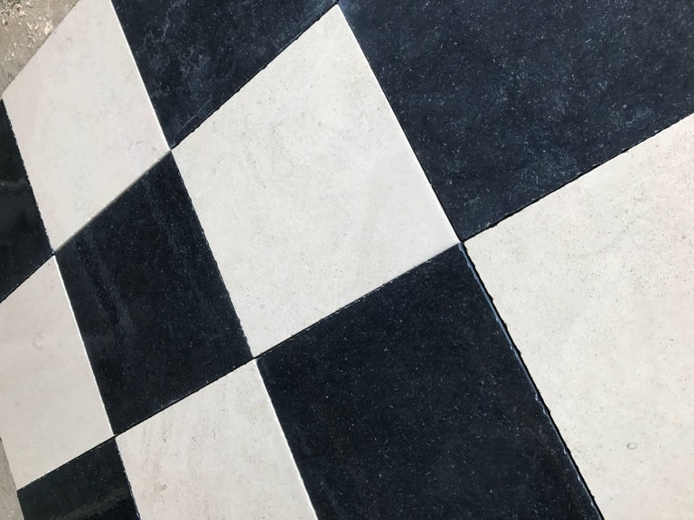French Black and White Limestone Checkerboard Flooring For Sale