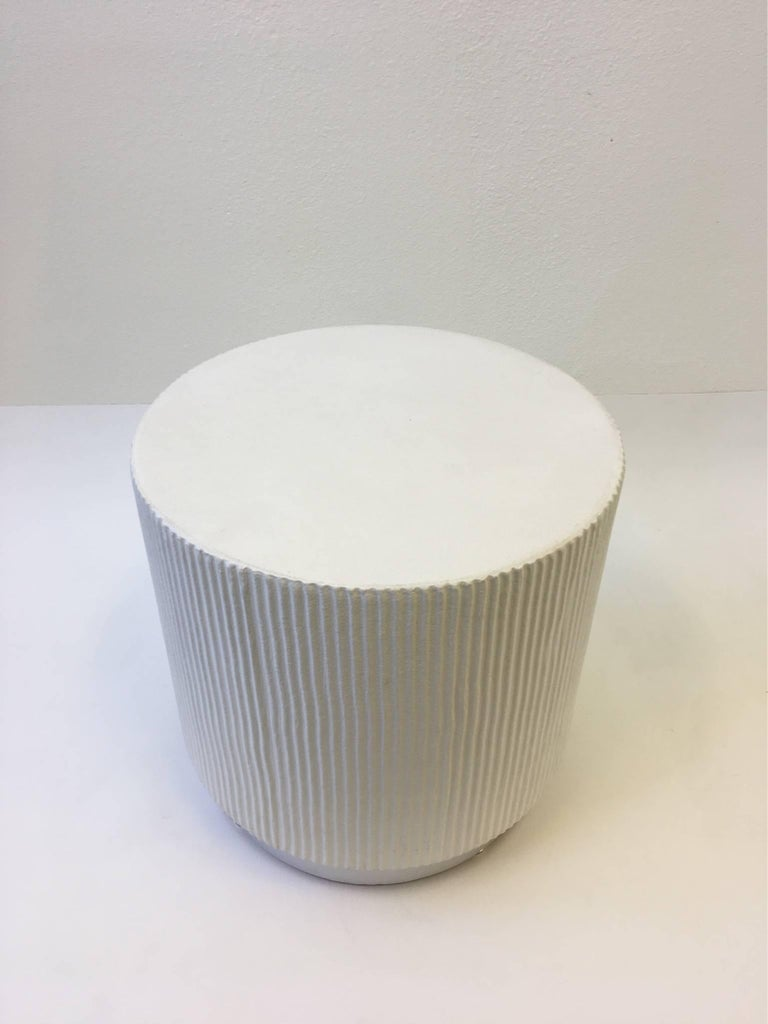White Lacquer And Brushed Aluminium Drum Side Table By
