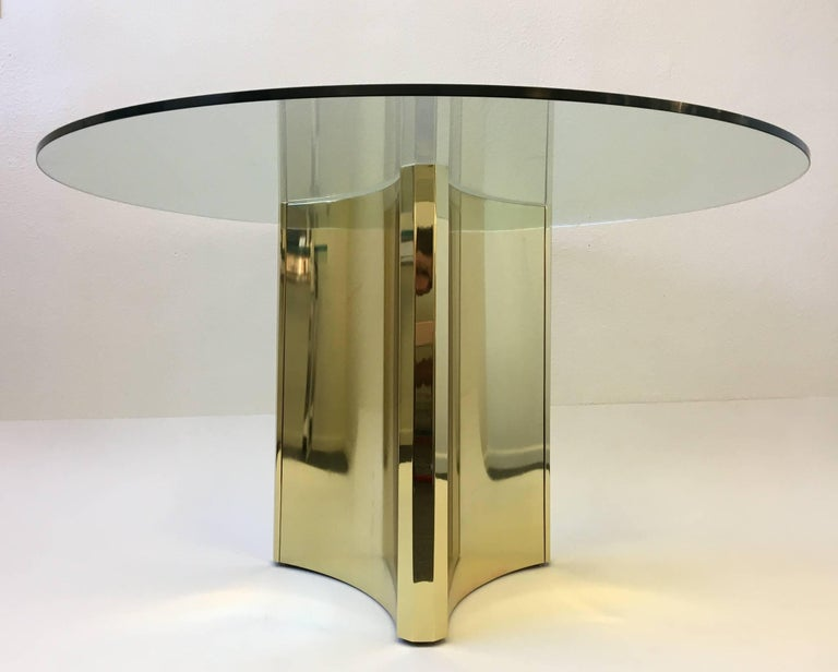 Polished Brass and Glass Dining Table by Mastercraft 2