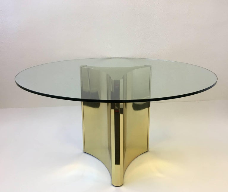 Polished Brass and Glass Dining Table by Mastercraft 3