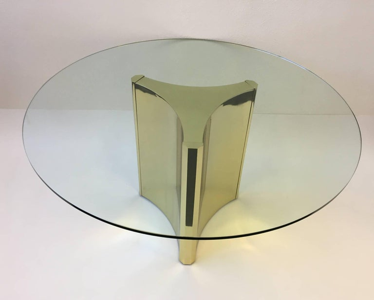 Polished Brass and Glass Dining Table by Mastercraft 4