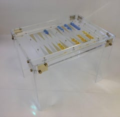 Acrylic and Brass Backgammon Table by Charles Hollis Jones