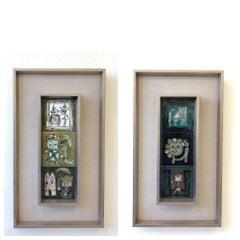 Pair of Italian Studio Ceramic Tiles by Bruno Capacci