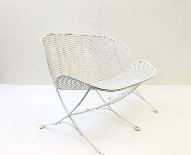 Lacquered White Lacquer Outdoor Settee Sofa by Maurizio Tempestini for Salterini For Sale