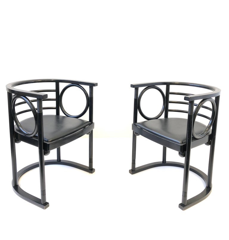 Pair of Black Lacquer Armchairs by Josef Hoffman