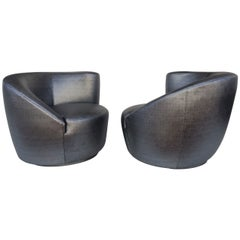 Pair of Swivel Chairs Lounge Chairs by Vladimir Kagan
