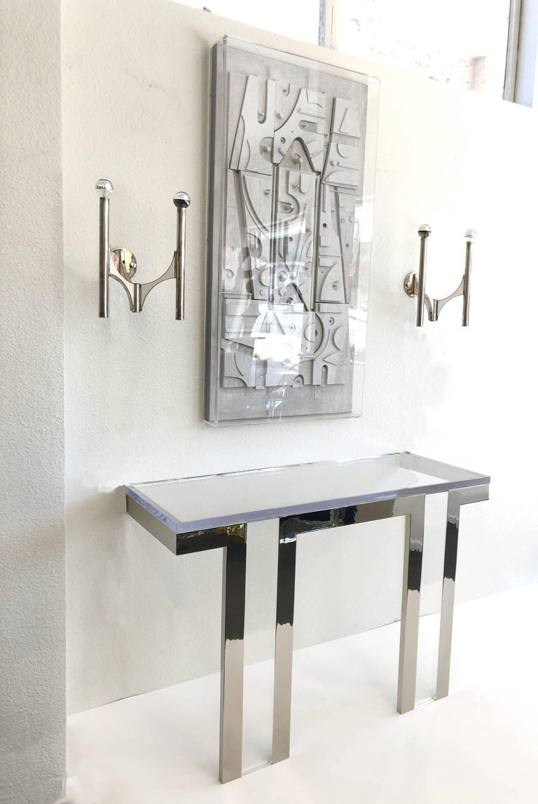 Modern Polish Nickel and Lucite Console Table by Charles Hollis Jones For Sale