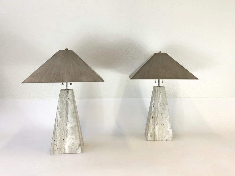Pair of Italian Travertine and Polish Nickel Obelisk Shape Table Lamps  In Excellent Condition For Sale In Palm Springs, CA