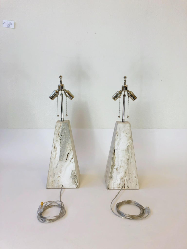 Pair of Italian Travertine and Polish Nickel Obelisk Shape Table Lamps  For Sale 4