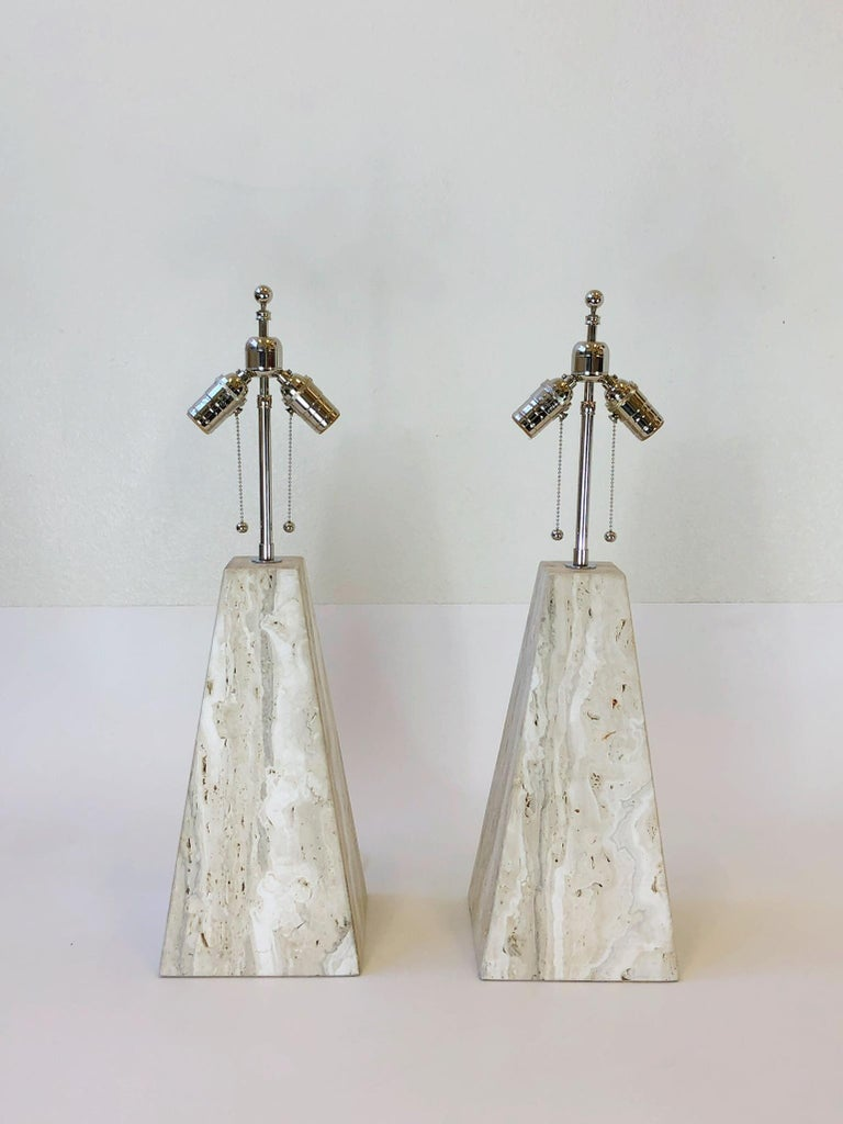 Pair of Italian Travertine and Polish Nickel Obelisk Shape Table Lamps  For Sale 5
