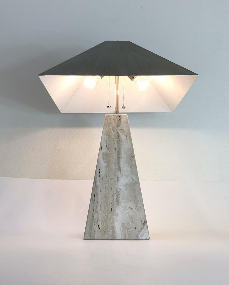Pair of Italian Travertine and Polish Nickel Obelisk Shape Table Lamps  For Sale 7