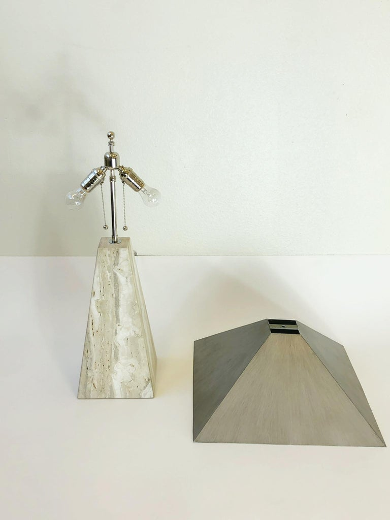 Pair of Italian Travertine and Polish Nickel Obelisk Shape Table Lamps  For Sale 8