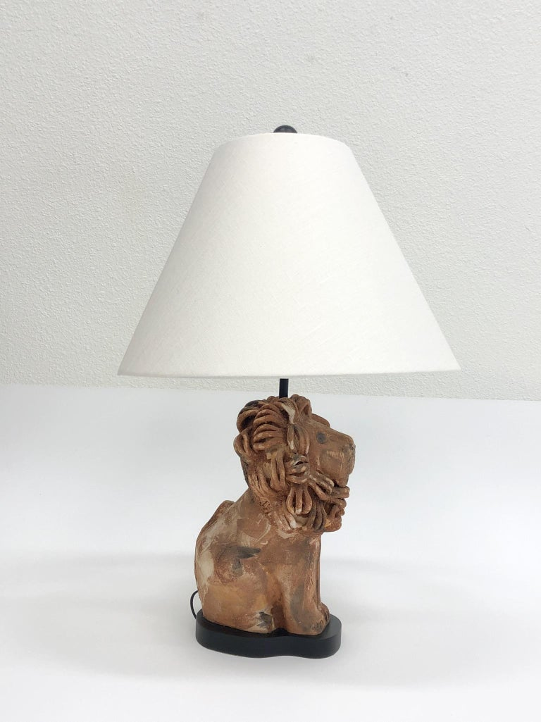 Modern Rare Italian Ceramic Lion Table Lamp by Aldo Londi for Bitossi For Sale