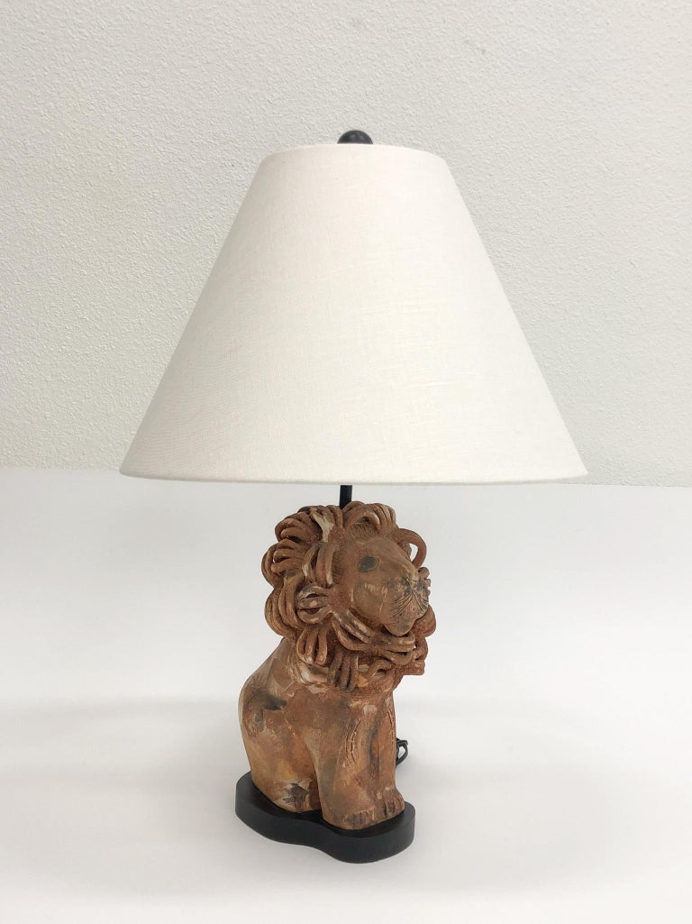 Glazed Rare Italian Ceramic Lion Table Lamp by Aldo Londi for Bitossi For Sale