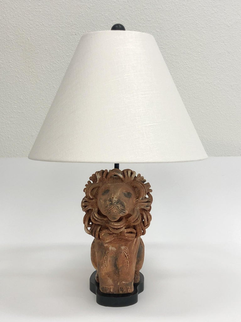 Rare Italian Ceramic Lion Table Lamp by Aldo Londi for Bitossi In Excellent Condition For Sale In Palm Springs, CA