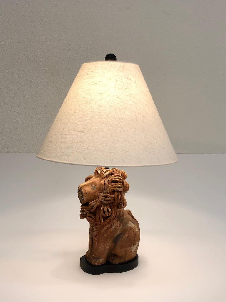 Rare Italian Ceramic Lion Table Lamp by Aldo Londi for Bitossi For Sale 1