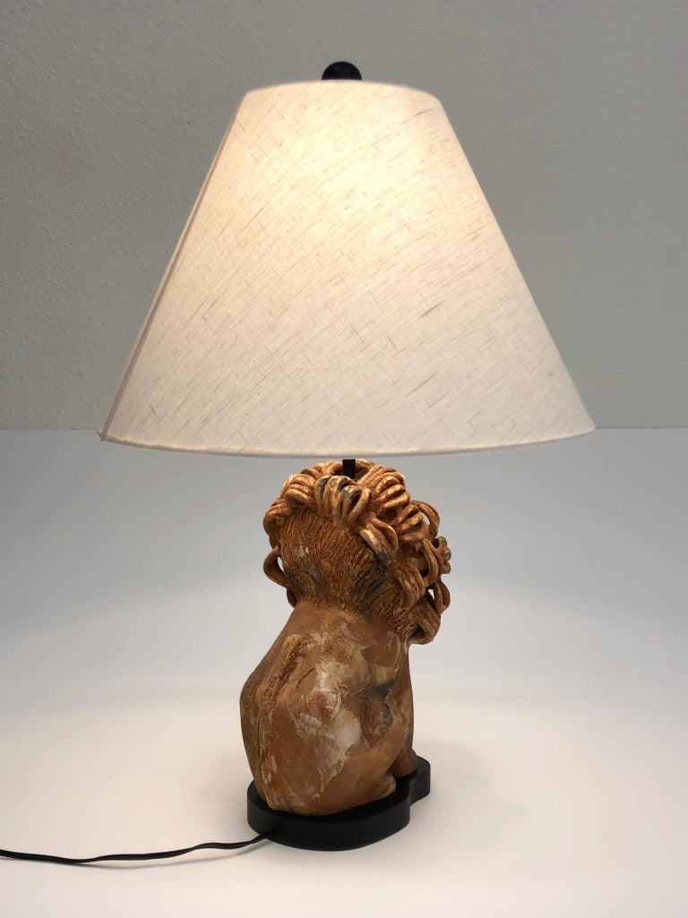Rare Italian Ceramic Lion Table Lamp by Aldo Londi for Bitossi For Sale 2
