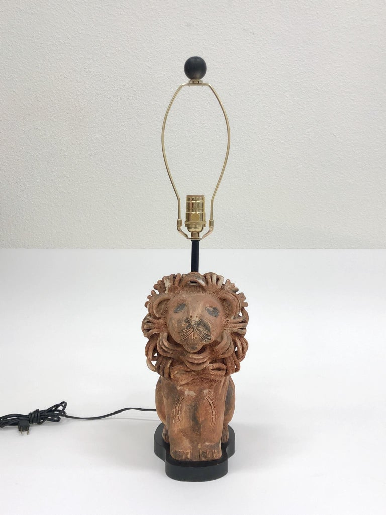 Rare Italian Ceramic Lion Table Lamp by Aldo Londi for Bitossi For Sale 4