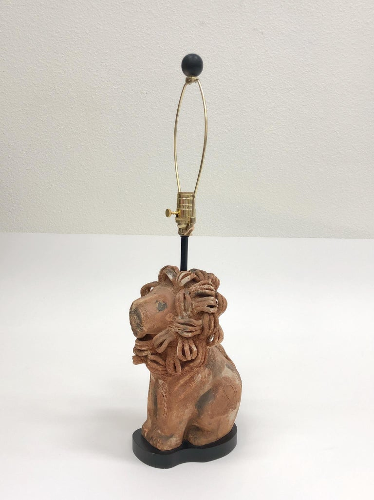 Rare Italian Ceramic Lion Table Lamp by Aldo Londi for Bitossi For Sale 5