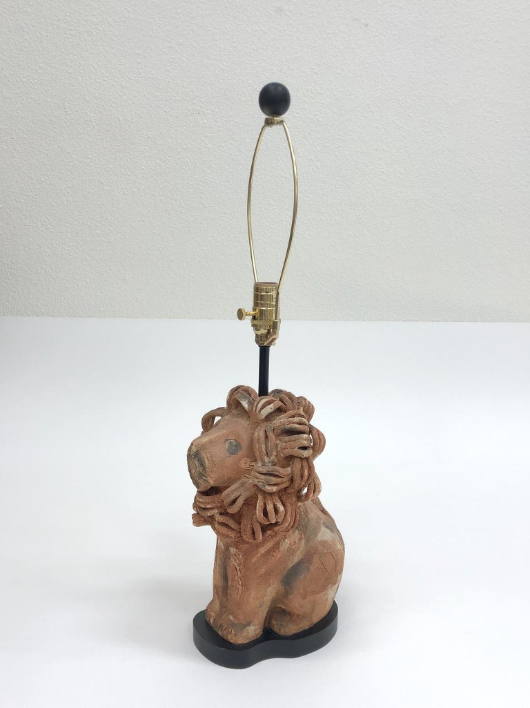 Rare Italian Ceramic Lion Table Lamp by Aldo Londi for Bitossi For Sale 7
