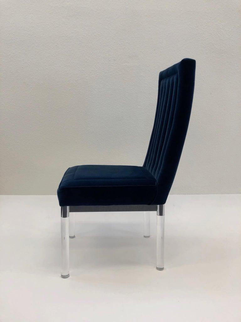 Modern Chrome and Acrylic Chair by Charles Hollis Jones For Sale
