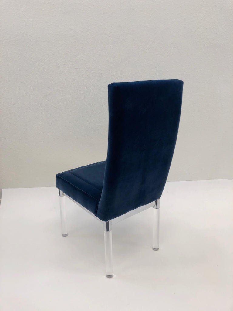 American Chrome and Acrylic Chair by Charles Hollis Jones For Sale