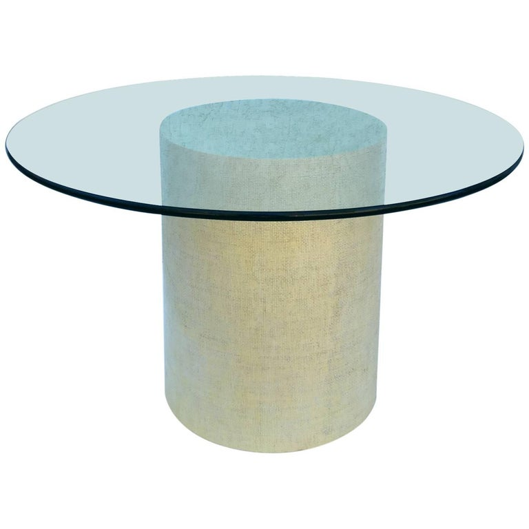 Grasscloth and Glass Dining Table by Steve Chase For Sale