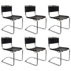 Set of Six Chrome and Saddle Leather Dinning Chairs Attributed to CY Mann